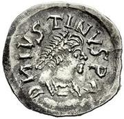 ¼ siliqua Au nom de Justin I, 518-527 & Theoderic, 475–526 (Sirmium; S régulière avec buste incliné) – avers