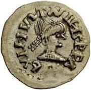 ¼ siliqua Au nom de Justin I, 518-527 & Theoderic, 475–526 (Sirmium; S rétrograde avec buste plat) – avers