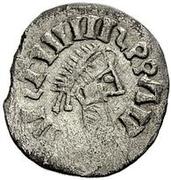 ¼ siliqua Au nom de Justin I, 518-527 & Theoderic, 475–526 (Sirmium; S rétrograde avec buste sans corps) – avers