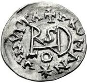 ¼ siliqua Au nom d'Anastasius I, 491-518 & Theoderic, 475-526 (Sirmium; S régulière avec buste plat) – revers