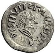 ¼ siliqua Au nom d'Anastasius I, 491-518 & Theoderic, 475-526 (Sirmium; S rétrograde avec monogramme inversé) – avers