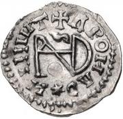 ¼ siliqua Au nom d'Anastasius I, 491-518 & Theoderic, 475-526 (Sirmium; S horizontal) – revers