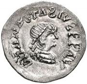 ¼ siliqua Au nom d'Anastasius I, 491-518 & Theoderic, 475-526 (Sirmium; S rétrograde avec buste plat) – avers