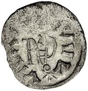 ¼ siliqua Au nom de Justin I, 518-527 & Theoderic, 475–526 (Sirmium; S rétrograde avec buste sans corps) – revers
