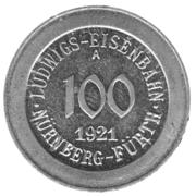100 Pfennig (Ludwigs Railroad - Nürnberg-Fürth) – avers