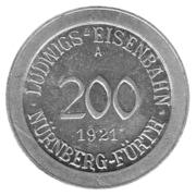 200 Pfennig (Ludwigs Railroad - Nürnberg-Fürth) – avers