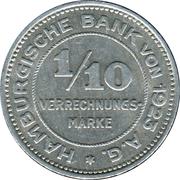 1/10 Verrechnungsmarke (Hamburg) [Private, Hamburgische Bank A.G.) – avers
