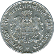 1/10 Verrechnungsmarke (Hamburg) [Private, Hamburgische Bank A.G.) – revers