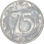 Stadt aachen Notgeld 75 Pfennig – avers