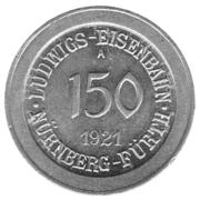 150 Pfennig (Ludwigs Railroad - Nürnberg-Fürth) – avers