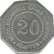 20 Pfennig (Kempten) [Private, Bayern, Mechanische Baumwollspinneri] – avers