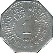 1 Pfennig (Berlin) [Private, Brandenburg, Kaufhaus des Westens G.M.B.H – avers