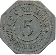 5 Pfennig (Annahütte) [Private, Brandenburg, Th. Heye Braunkohlenwerke – avers