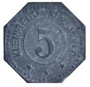 Wurttemberg-Trossingen 5 Pfennig ND – revers