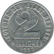 2 Million Mark (Menden) [Stadt, Westfalen] – avers