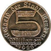 5 Miliionen Mark (Menden) [Stadt, Westfalen] – avers