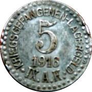 5 Pfennig Kriegsgefangenenlager IX A.K. Armee Korps Güstrow. POW CAMP – avers