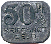 50 Pfennig  - Hall notgeld 1918 zinc (rectangular) – revers