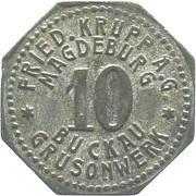 10 Pfennig (Magdeburg-Buckau)  [Private, Provinz Sachsen, Fried. Krupp AG Grusonwerk] – avers