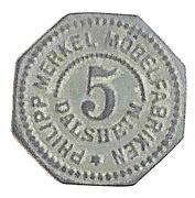 5 Pfennig (Dalsheim) [Private, Palatinate, Philipp Merkel Möbelfabrik] – avers