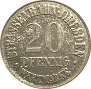 20 Pfennig (Dresden) [Strassenbahn, Saxony] Treuhand Bank – avers