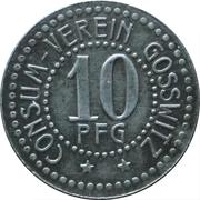10 Pfennig - Consum Verein (Gosswitz) -  avers