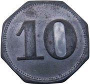 10 Pfennig - Blaichach (Allgäuer Baumwoll Spinn & Weberei) – revers