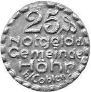 25 Pfennig (Hohr) [Stadt, Hessan-Nassau] – avers