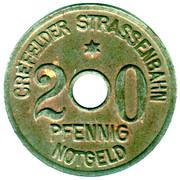 20 Pfennig - Crefeld Tram Token – avers