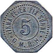 5 pfennig (Firma Peter Fix Sohne - Rheinprovinz,  Duisburg) – avers