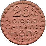 25 Pfennig (Hohr)[Stadt, Hessen-Nassau] – avers