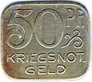50 pfennig 1918 Hall – revers