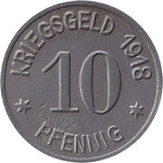 10 pfennig - Oels (Kaufmännischer Verein) – revers