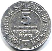 5/100 gutschriftsmarke (Schleswig-Holstein) – avers