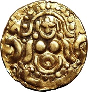 """Dinar """"Gold Stater""""- Muizz ud-din Muhammad bin Sam - 1193-1206 AD (Kannauj mint) – avers"""