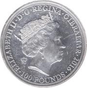 100 Pounds - Elizabeth II, 2 Oz Silver Piedfort -  avers