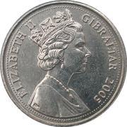 5 pence Elizabeth II (3ème effigie, chiffre en bas) – avers