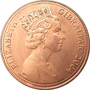 2 pence Elizabeth II (Tricentenaire de l'occupation britannique) – avers