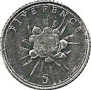 5 Pence Elizabeth II (3e effigie, fleur) -  revers