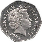 50 pence Noël 2001 – avers