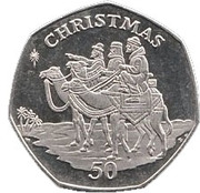 50 pence Noël 2001 – revers