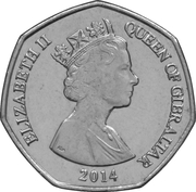 50 pence Elizabeth II (3e effigie, Macaque) -  avers