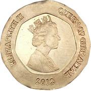 20 pence Elizabeth II (3e effigie, date sous le portrait) -  avers
