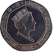 20 pence Elizabeth II (New Calpe House) -  avers