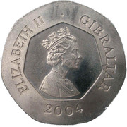 20 pence (Tricentenaire de la prise de Gibraltar) -  avers