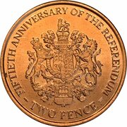 2 pence Elizabeth II (Anniversaire du référendum) – revers