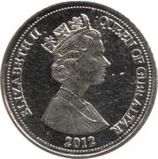5 pence Elizabeth II (3e effigie, date sous le portrait) – avers