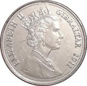 5 pence Elizabeth II (3ème effigie, chiffre en haut) -  avers