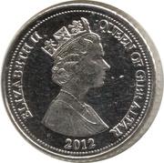 5 pence Elizabeth II (3e effigie, date sous le portrait) -  avers