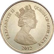 10 pence Elizabeth II (3e effigie, date sous le portrait) – avers